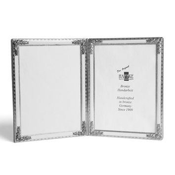 Silvered Bronze with White Enamel Double Frame