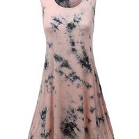 LE3NO Womens Lightweight Sleeveless  Tie Dye Scoop Neck Flared Tunic Dress (CLEARANCE)