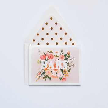 THE FIRST SNOW BABY FLORAL CARD