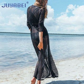VONE05L JUYABEI Beach Cover Up Solid Lace Robe Plage Black and White Kaftan Dress Pareos for Women Beach Tunic Sarong Swimsuit