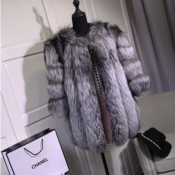 FURSARCAR Real Fox Fur Coat Women Fashion Winter Female Jacket Customize Genuine whole Leather Silver Fox Fur Coats BF-C0015