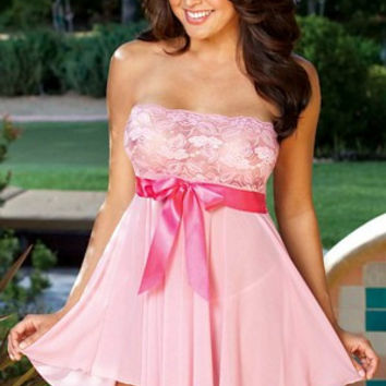 Pink Floral Lace Waist Bow Tie Strapless Lingerie