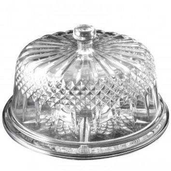 Gibson Home Jewelite Serveware/ Cake Plate with Dome, Clear Dome
