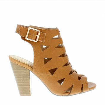 Cut Out Chunky Mid Heel Sandal
