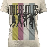 The Beatles Stripes Standing Group Natural Cream Juniors T-shirt - The Beatles - | TV Store Online
