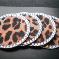 ANIMAL PRINT & BLING Coasters (cheetah) - Set of 4 w/ clear rhinestones