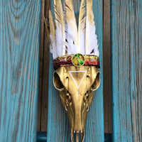 Warrior Deer Skull, Feather Crown, Gold Deer Skull, Wall Art, Painted Deer Skull, Decorated Deer Skull