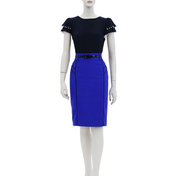 Solid Belted Unique Design Fitted Midi Knee Length Skirts Size S-XL AV4296