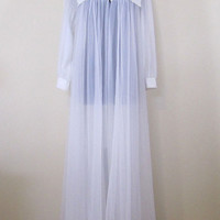 Vintage Peignoir Robe by BLANCHE - White nylon layers - pleated trim with lace - Medium