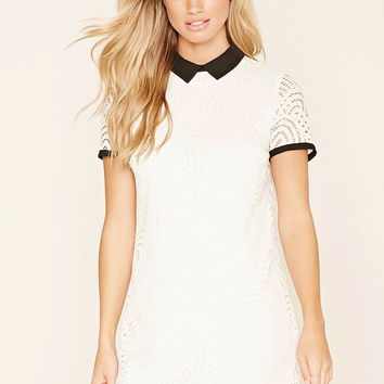 Contrast Collar Lace Dress | Forever 21 - 2000222939