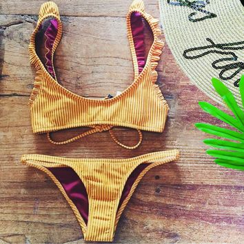 2018 new split bikini yellow stripes low waist sexy women's swimsuit