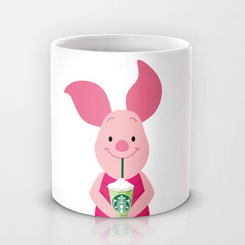 Personalized mug cup designed PinkMugNY- I love Starbucks - Piglet