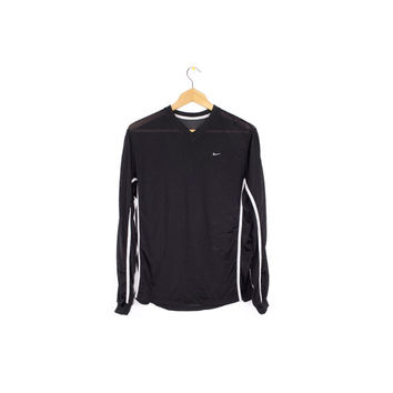 NIKE black + white mesh jersey shirt - long sleeves - swoosh logo