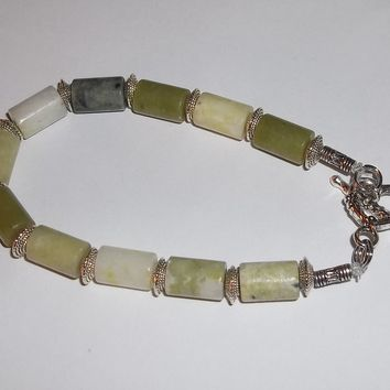 Natural Jade w/ Tibetan Silver Accent Beads and Heart Toggle Clasp Hand Crafted Bracelet