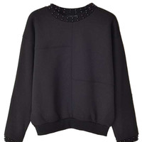 Black Bead Detail Long Sleeve Sweatshirt