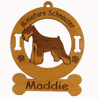 3555 Mini Schnauzer Cropped Standing Ornament Personalized with Your Dog's Name