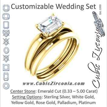 CZ Wedding Set, featuring The Johnnie engagement ring (Customizable Cathedral-set Emerald Cut Solitaire with Decorative Prong Basket)