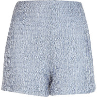 River Island Womens Light blue eyelash textured shorts