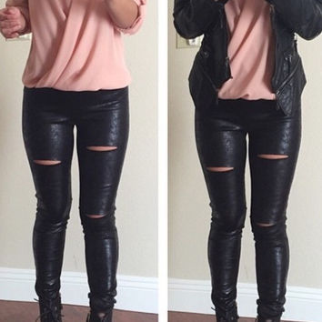 Moto Cutout Faux Leather Leggings - Black