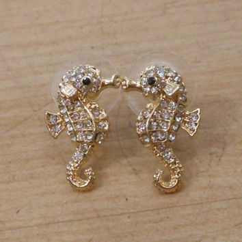 Seahorse Earrings - Gold Rhinestone Seahorse Earrings