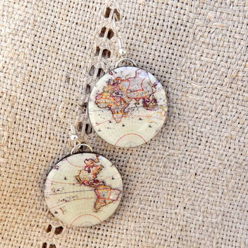 Whole Wide World earrings, Vintage world map earrings, Globe Jewelry, Map jewelry, World map earrings, Antique World Map, Summer jewelry