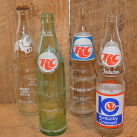 Vintage RC Cola Bottles, Green RC Cola Bottle, Kentucky Colonels 1974 -1975, RC Salutes, Souvenir Bottle, Vintage Pop Bottle, Soda Bottle