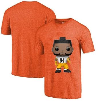 Men's Summer T-Shirt, Steelers Fans Pittsburgh 84 Antonio Brown Cartoon Figure Picture Printing Classical O-neck T Shirt