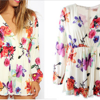 Fashion Women Floral Beach Chiffon Bodycon Jumpsuit Short Pant To Tops = 4721182084