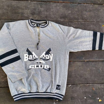 BadBoy club sweatshirt half zip jumper vintage hip hop