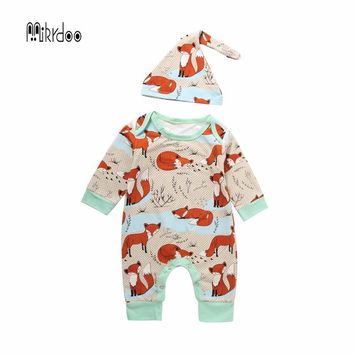 Newborn Baby Summer Boy Girl Clothes 2PCS Newborn Children Cotton Short Sleeve Fox Romper +Hat 2PCS Outfit Casual Top Sunsuit