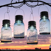 Hanging Mason Jar Lights 4 Ball Mason Jar Solar by treasureagain