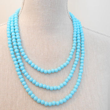 Turquoise necklace, 3 strand necklace, Bridal necklace, Pearls necklace, Bridesmaid necklace, Wedding necklace, Bridesmaid jewelry