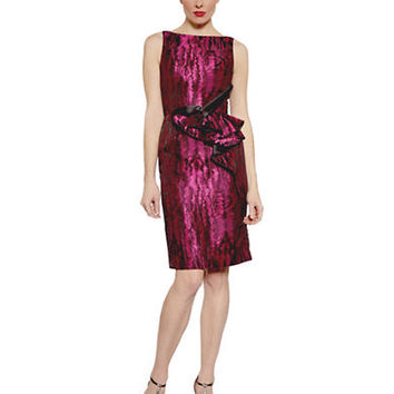Carmen Marc Valvo Metallic Ruffled Sheath Dress