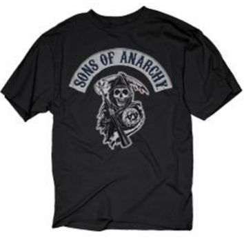 Sons of Anarchy SOA Blue Logo Patch Reaper Black Adult T-shirt  - Sons of Anarchy - | TV Store Online