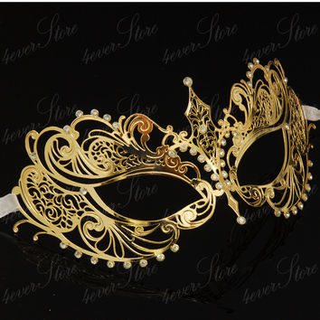 Gorgeous Gold Laser Cut Masquerade Mask - with Swarovski Inspired Diamonds - Gold Mask