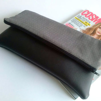 Black and grey clutch foldover clutch - Doubt