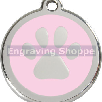 Pink Paw Print Enamel and Stainless Steel Personalized Custom Pet Tag with LIFETIME GUARANTEE ID Tag Dog Tags and Cat Tags Free Engraving