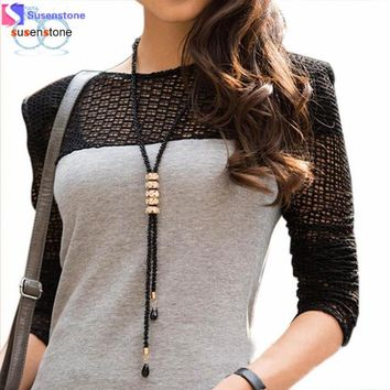 Crystal Fringed Long Geometry Necklace