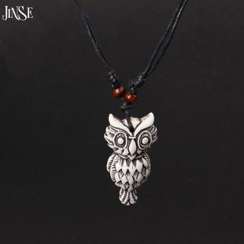 Tibetan Yak Bone Carved Owl Elephant Eagle Charms Pendant &Necklace s /Against Evil Jewelry New Year Gift