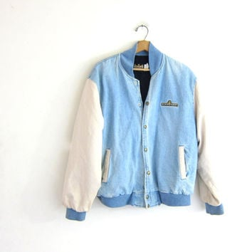 vintage denim jean jacket // puffy denim coat / insulated jean jacket / Schweigert