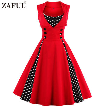 ZAFUL 7 color Plus size Summer Women Red polk dot vintage Audrey hepbum 50s Rockabilly robe Retro Party Dress Feminino Vestidos