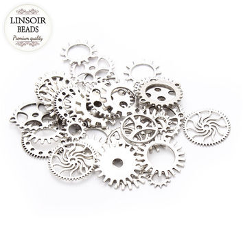 30pcs/lot Silver Plated Mixed Steampunk Cog Charms, DIY Jewelry Making Supplies