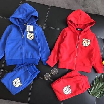 Moschino Toddler Little Girls Clothing Set Cute Hoodies and Pants For Kids - Best Deal Online