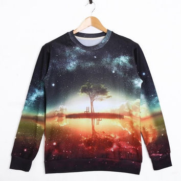 Sweatshirts Fashion Unisex Printed Galaxy Sleeve Crewneck Sweaters  S / M / L / XL = 1830062404