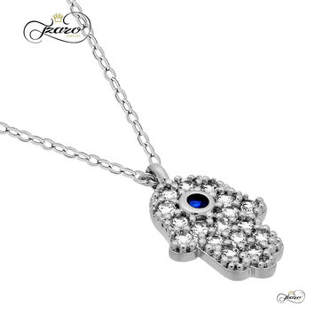 Small Hamsa Necklace, 925 Sterling Silver, Silver Plated Hand of Fatima Necklace