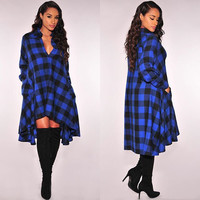 Plaid Printed Long Sleeve Coat