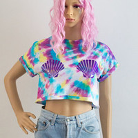 Tie Dye Unicorn Crop Top T-shirt Holographic Festival Rave Fashion Coachella Summer Pastel Goth 90s Grunge Ibiza Gift For Her S/M/L/XL