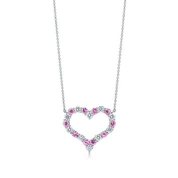 Tiffany & Co. - Diamond and Pink Sapphire Heart Pendant