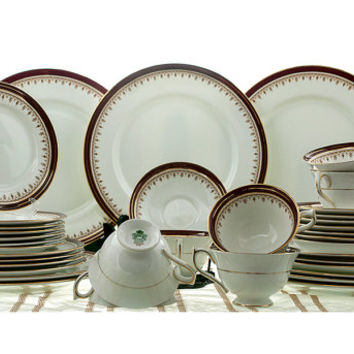 Aynsley Durham China #1646 Smooth Maroon and Gilt Gold 44 Pieces 7 Place Settings+  Replacement China CHRISTMAS in July SALE!