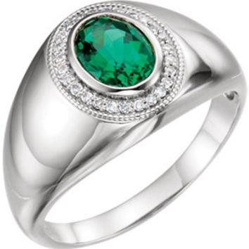 14K White Men's Chatham® Created Emerald & Diamond Accented Ring